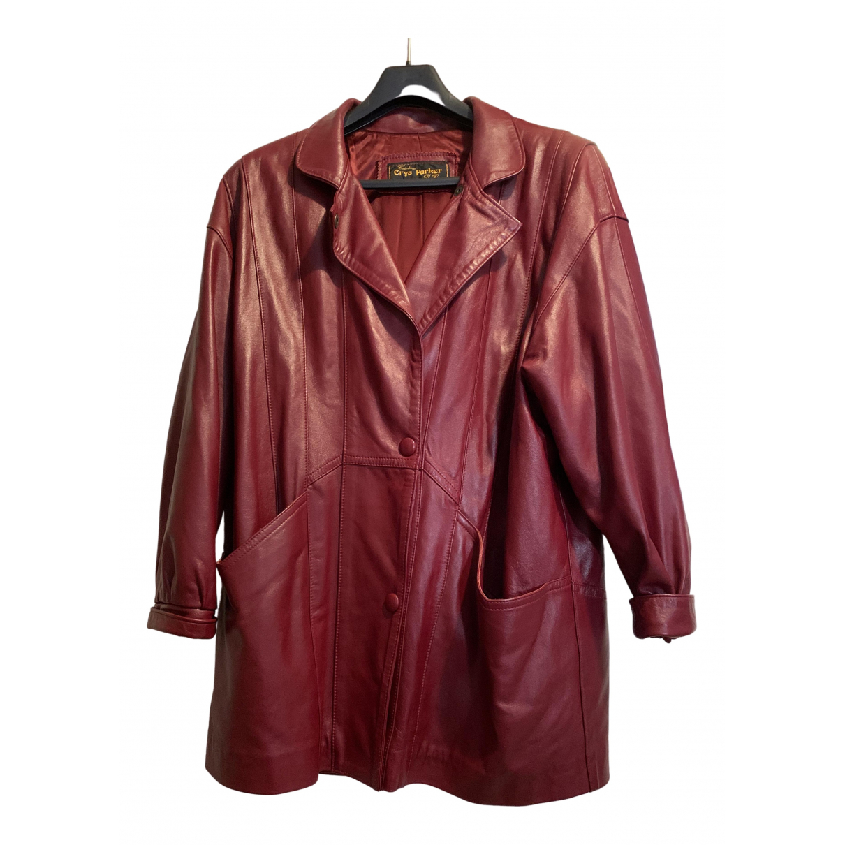 Non Signé / Unsigned \N Burgundy Leather jacket for Women 44 FR