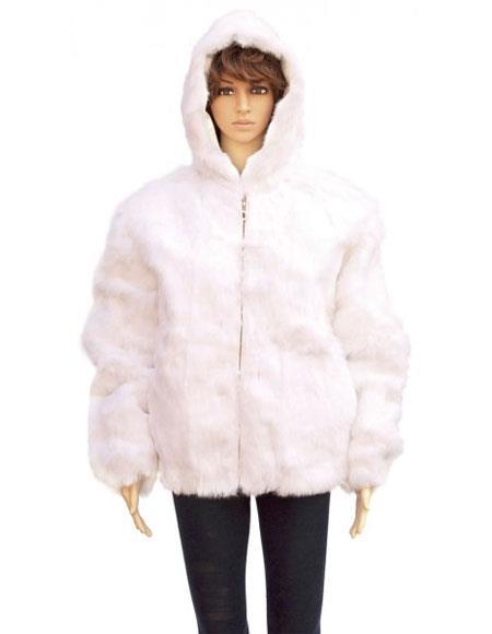 Fur White Full Skin Genuine Rabbit Pull Up Zipper Jacket