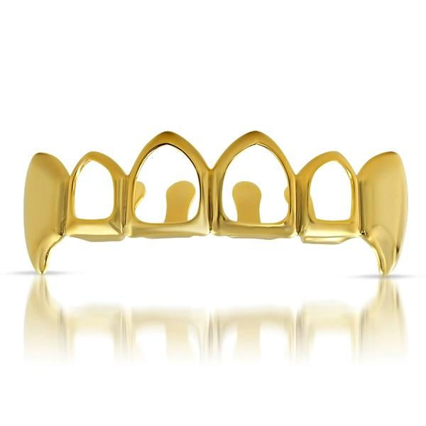 Gold Fang Grillz with 4 Open Teeth Top