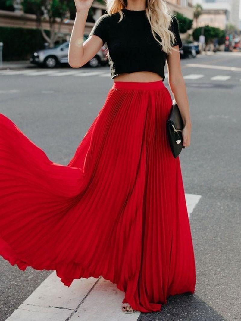 Ericdress Plain Floor-Length Pleated Skirt
