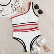 Textured Contrast Binding One Shoulder Bikini Swimsuit