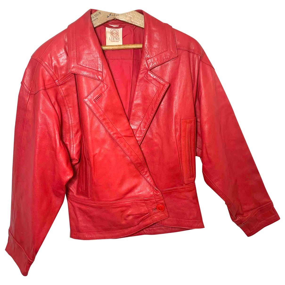 Loewe - Veste   pour femme en cuir - rouge