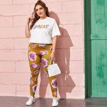 T-Shirt mit Buchstaben Grafik & Leggings Set mit Blumen Muster