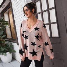 Pullover mit sehr tief angesetzter Schulterpartie, Schlitz am Saum und Stern Muster