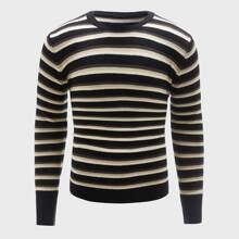 Pullover mit Streifen Muster und rundem Kragen