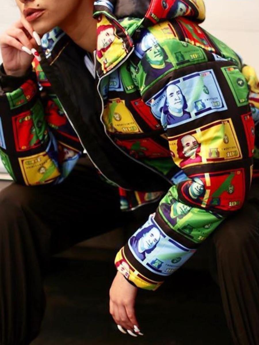 LW lovely Trendy Hooded Collar Print Black Parka