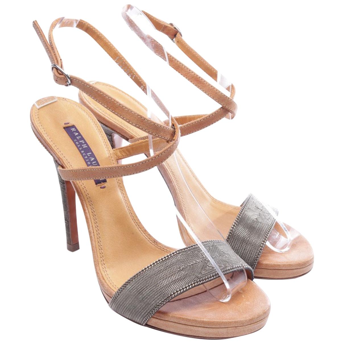 Ralph Lauren Purple Label - Sandales   pour femme en cuir exotique - marron