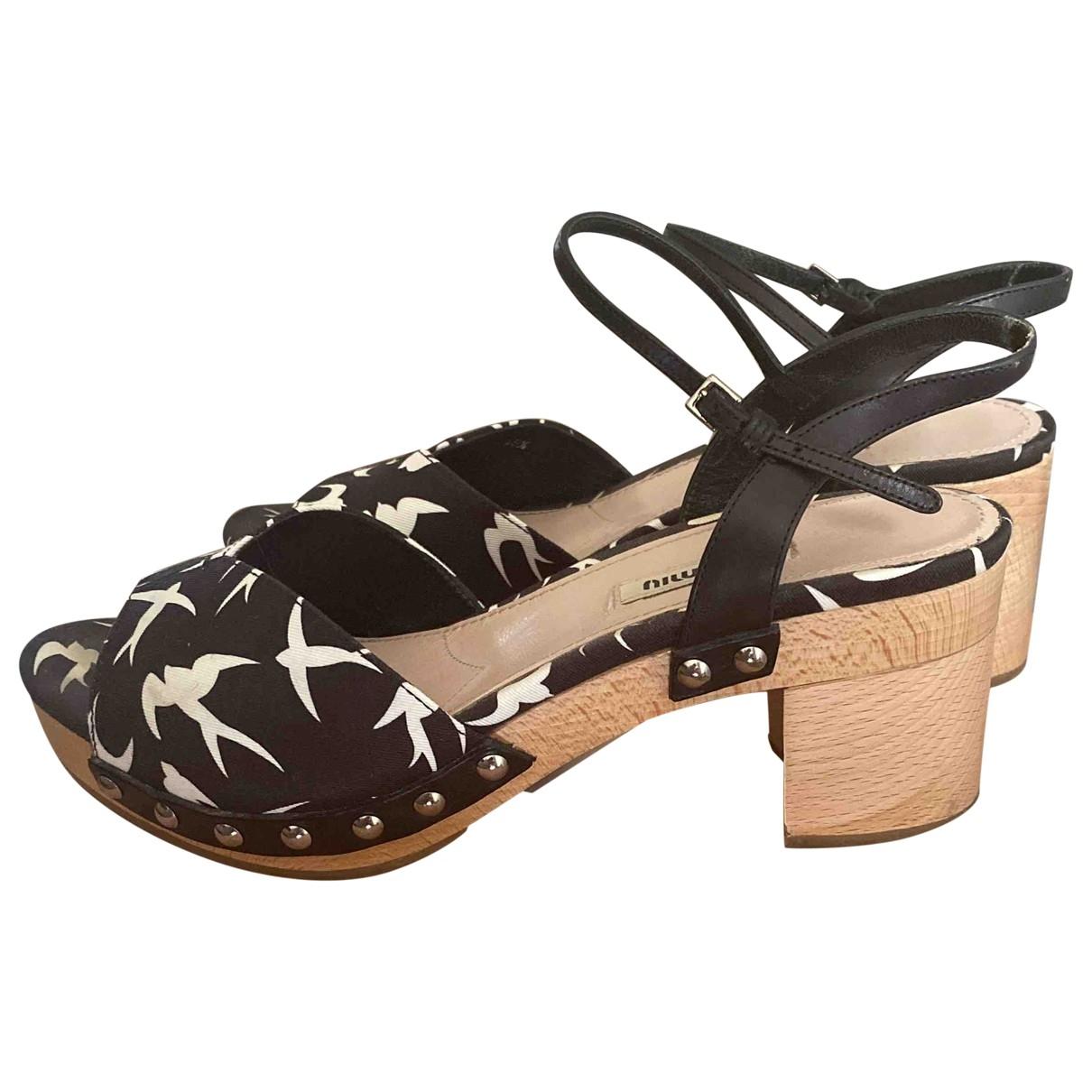 Miu Miu - Sandales   pour femme en toile - noir
