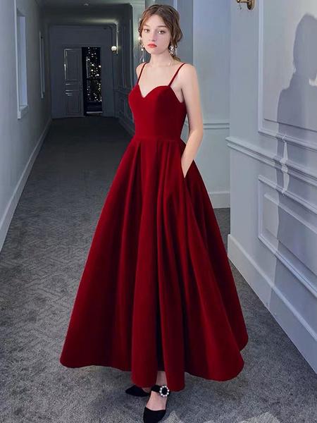 Milanoo Evening Dress A Line Sweetheart Neck Velour Floor Length Pockets Formal Party Dresses