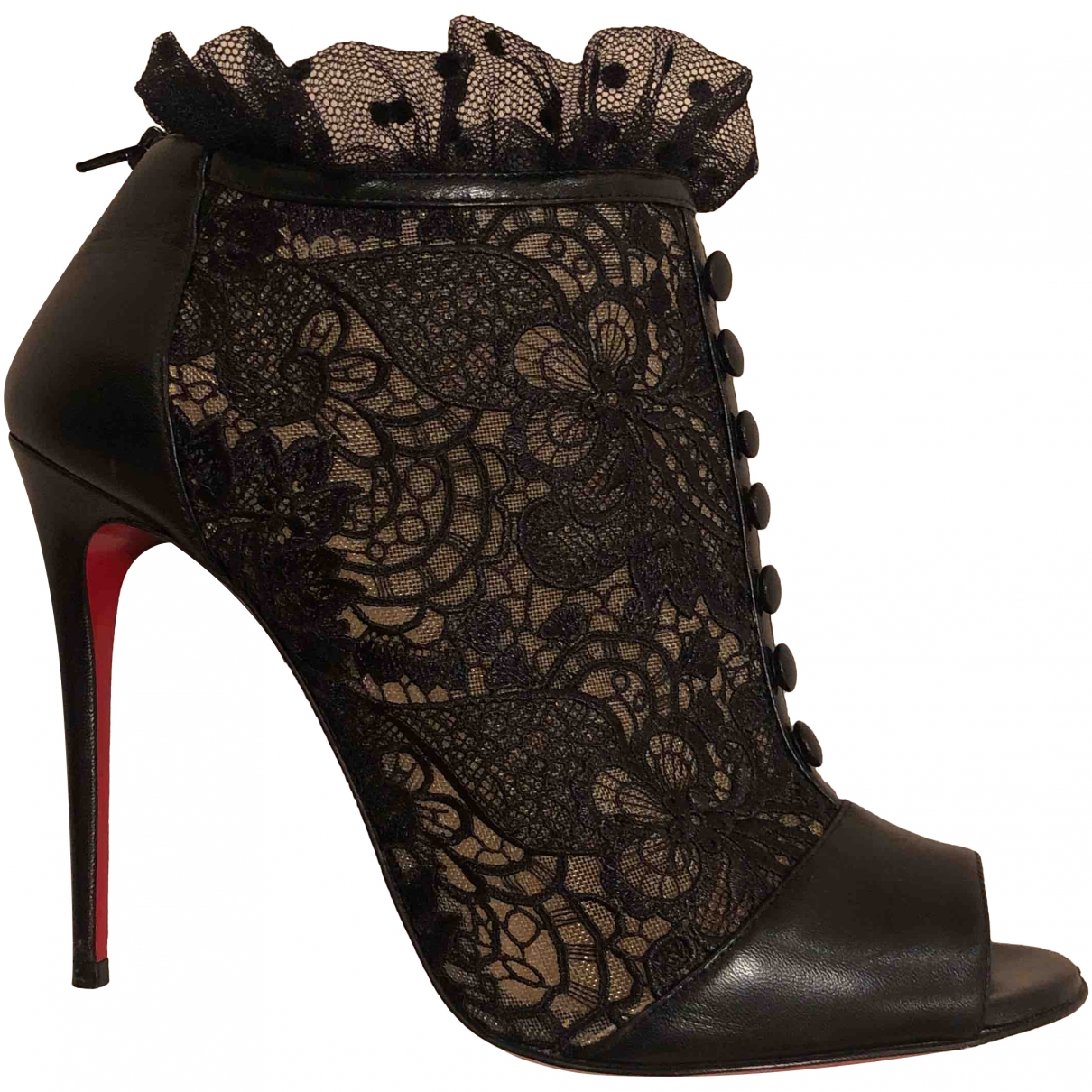 Christian Louboutin \N Black Cloth Ankle boots for Women 39.5 EU