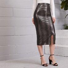 Split Hem Crocodile Embroidered Pencil Skirt