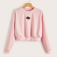 Rose Patched Crop Sweatshirt