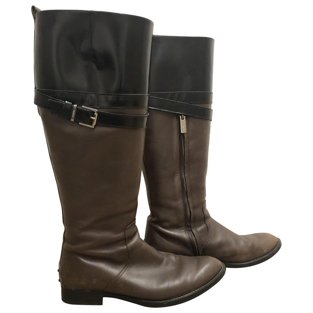 Tod's - Bottes   pour femme en cuir - marron