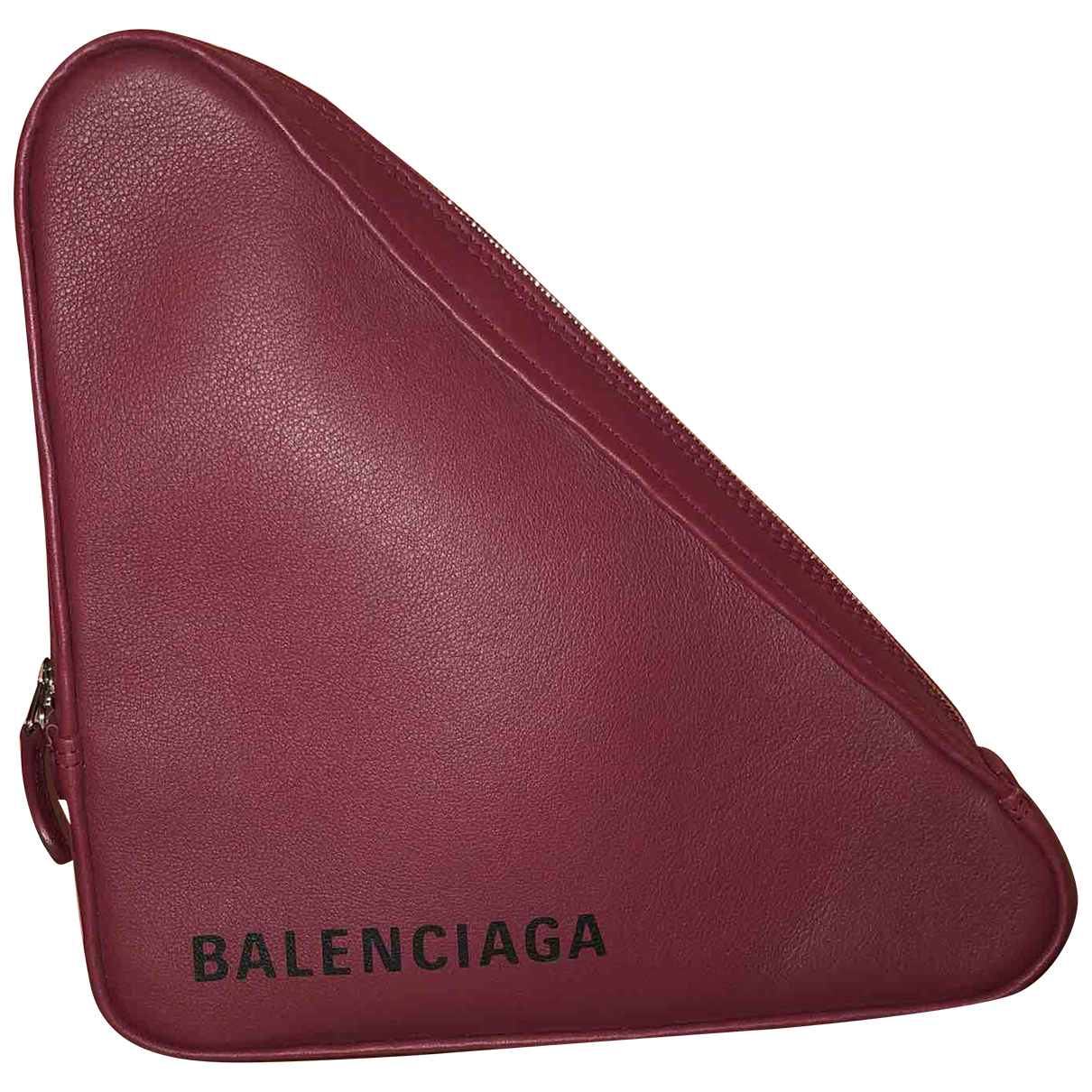 Balenciaga Triangle Clutch in  Bordeauxrot Leder