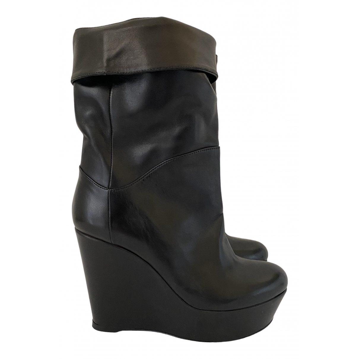 Gianmarco Lorenzi \N Black Leather Ankle boots for Women 37 IT