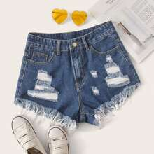Shorts denim rotos escalonados bajo crudo - grande