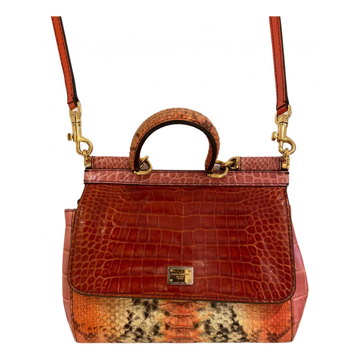 Dolce & Gabbana - Sac a main Sicily pour femme en crocodile - orange