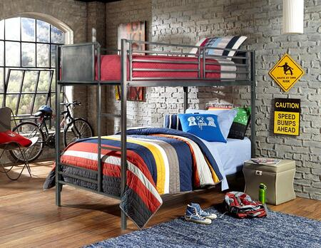 1265BB Urban Quarters Twin/Twin Bunk Bed with Punched Hole Detailing  Ladder and Metal Construction in Black Steel