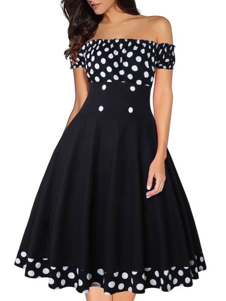 Milanoo Vestido vintage Vestido de mujer Rockabilly de manga corta con cuello bateau de los años 50
