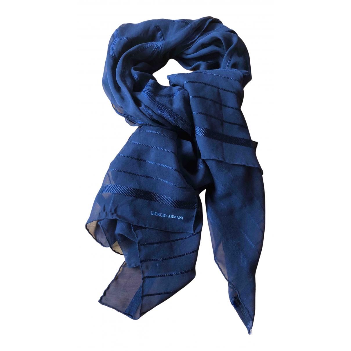 Giorgio Armani - Foulard   pour femme en soie - bleu