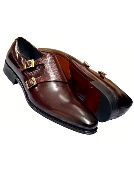 Men's Calfskin Leather Wine Burnished Double Monk Strap Shoes