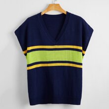 Plus Batwing Sleeve Colorblock Knit Top