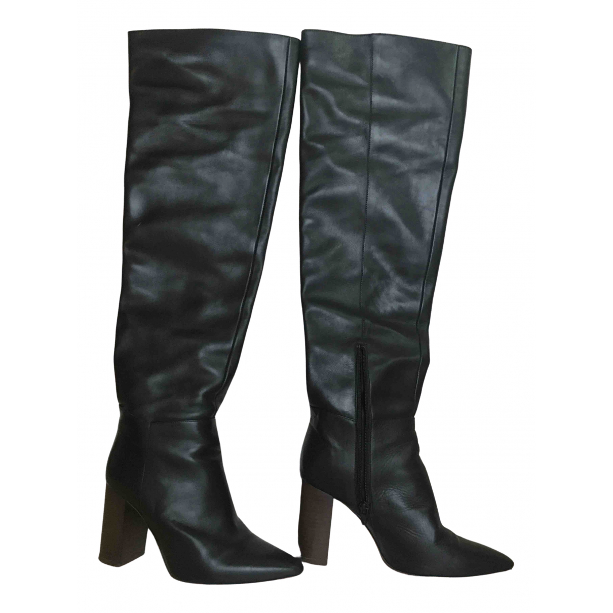 Maje \N Black Leather Boots for Women 36 EU