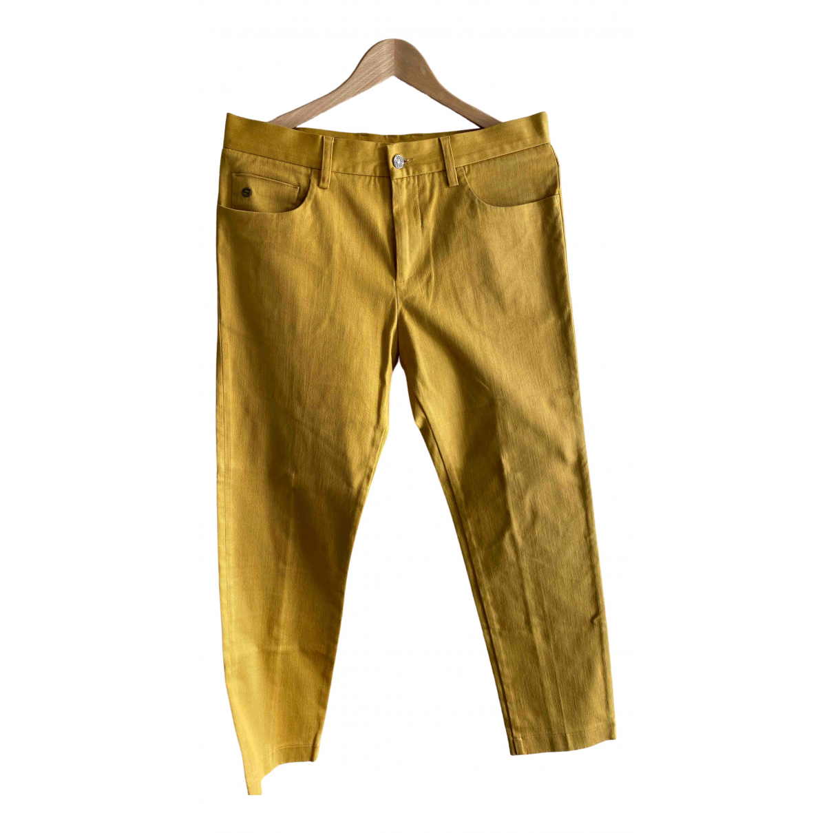 Gucci \N Yellow Cotton Trousers for Men 48 IT