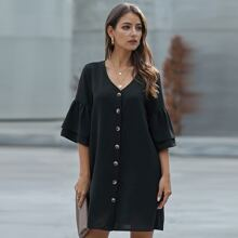 Flounce Sleeve Button Through Tunic Dress