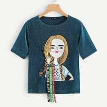 Camiseta brillante con diseño de tachuelas con estampado de figura