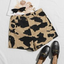 Contrast Stitch Cow Print Shorts