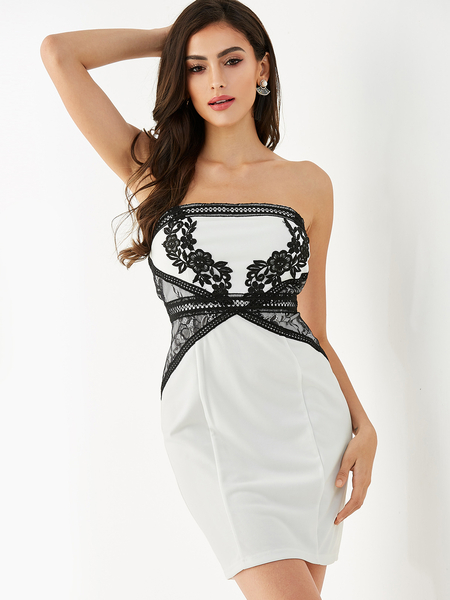 YOINS White Embroidered Zip Design Strapless Sleeveless Dress