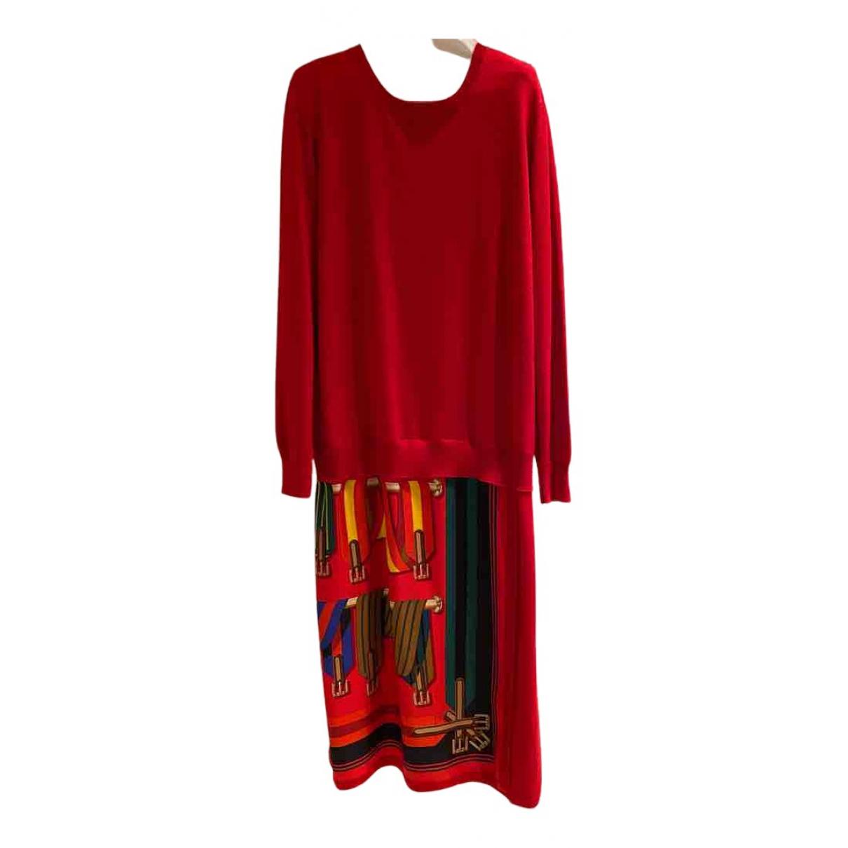 Hermes - Robe   pour femme en soie - rouge