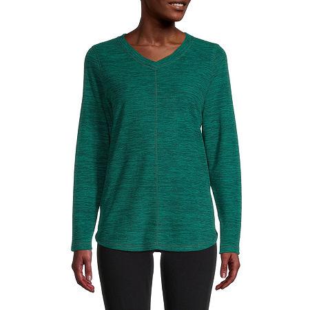 St. John's Bay-Womens V Neck Long Sleeve Polar Fleece Pullover, X-large , Green