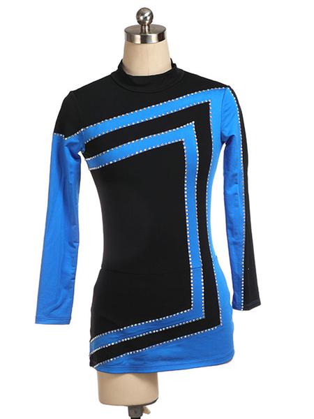 Milanoo Skating Dress Blue Korean Velvet Stripes Dance Costumes