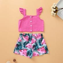 Kleinkind Maedchen Cami Top mit Raffungsaum und Shorts mit Wassermelone Muster