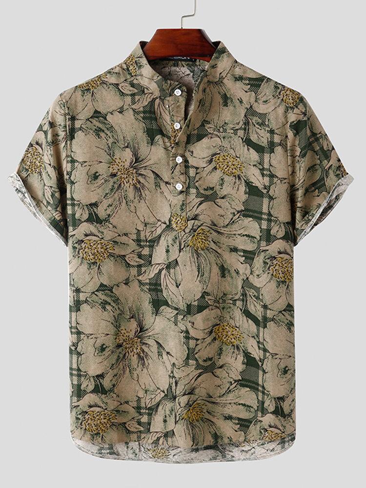 Mens Vintage Floral Print 100% Cotton Casual Gentlemenlike Henley Shirt