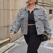 Tweed Jacke mit Hahnentritt Muster und Taschen