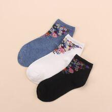 3pairs Ditsy Flower Pattern Socks
