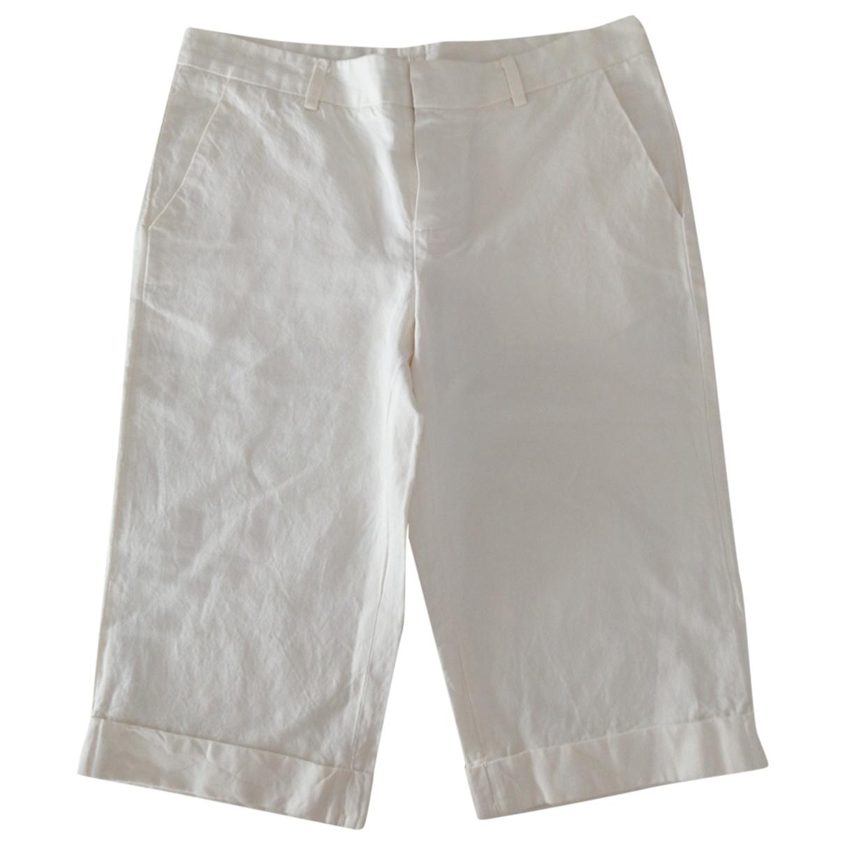 Ter Et Bantine \N White Linen Trousers for Women 40 FR