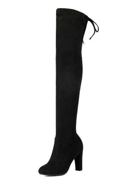 Milanoo Botas altas mujer color camel  con cordones con pala de saten elastico de tacon gordo de puntera redonda 13.5cm Color liso Otoño Invierno