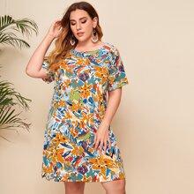 Tunika Kleid mit Blumen Muster