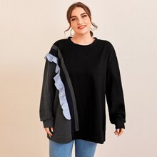 Plus Color-block Frill Trim Sweatshirt