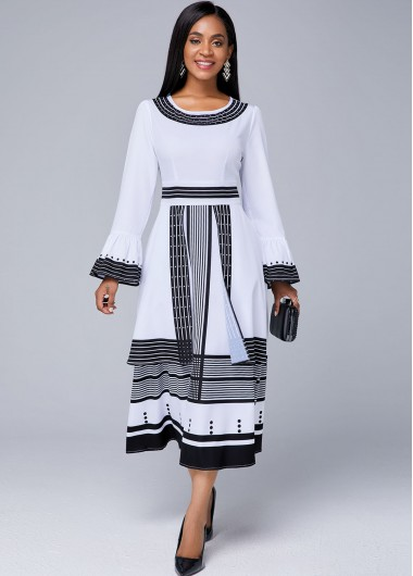 White Dresses Round Neck Strip Print Flare Sleeve Dress - XL
