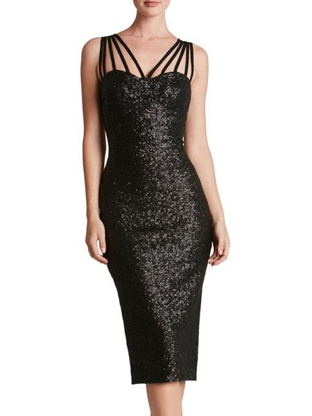 Milanoo Sequin Bodycon Dress Glitter Strappy Sleeveless Sheath Dress For Women