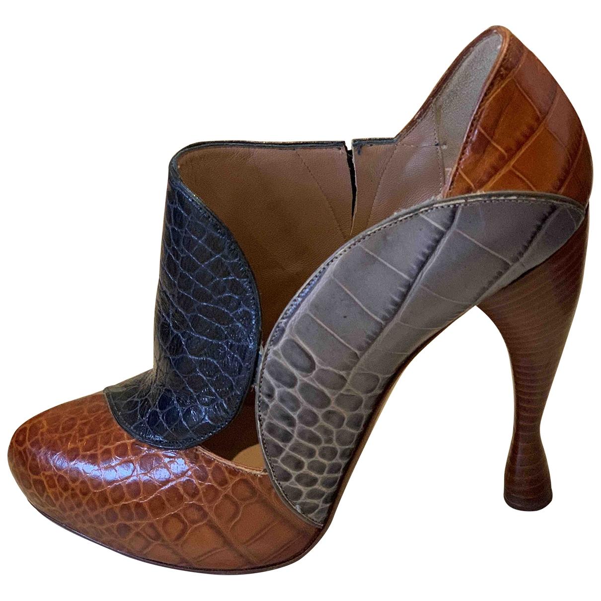 Emporio Armani - Boots   pour femme en cuir - marron