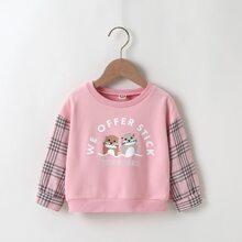 Toddler Girls Cartoon Graphic Plaid Sleeve Sweatshirt