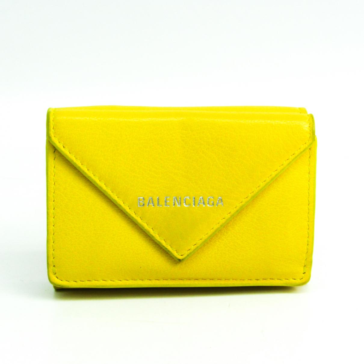 Balenciaga \N Portemonnaie in  Gelb Leder