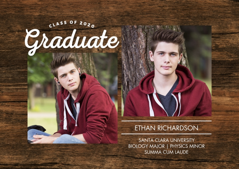 2020 Graduation Announcements 5x7 Cards, Premium Cardstock 120lb, Card & Stationery -Graduate 2020 Script Memories by Tumbalina