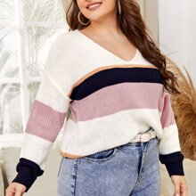 Plus V-neck Color Block Sweater